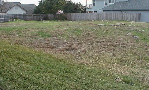 A picture of the vacant lot from the front left corner.
